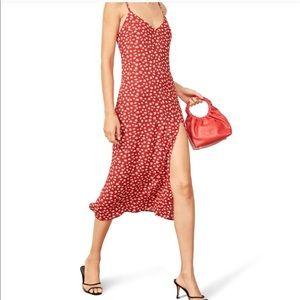 Reformation Red Floral Crimini Slip Dress